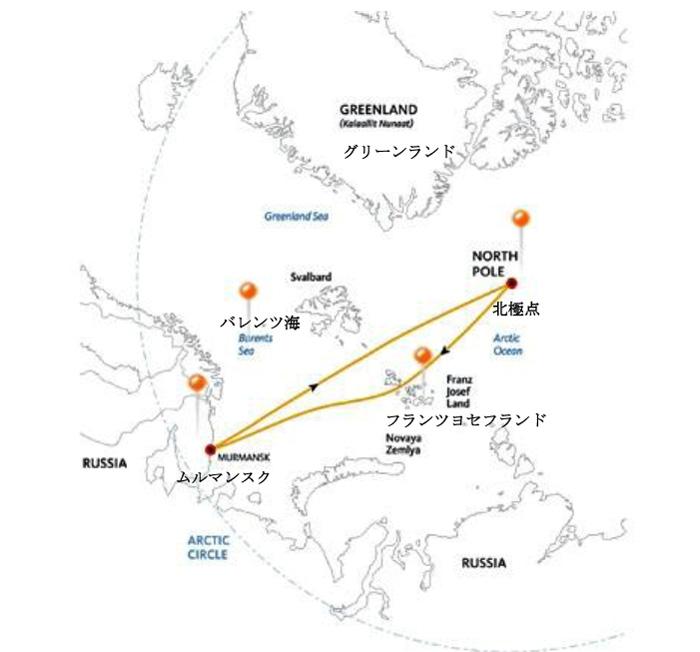 北極点クルーズ14日間ルート地図