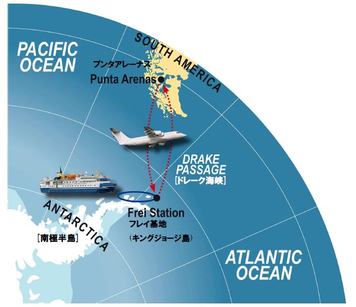南極フライ&クルーズ(�T)南極半島&サウスシェットランド諸島8日間航路図