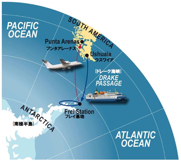 南極フライ&クルーズ(�V)サウスシェットランド諸島6・7日間航路図