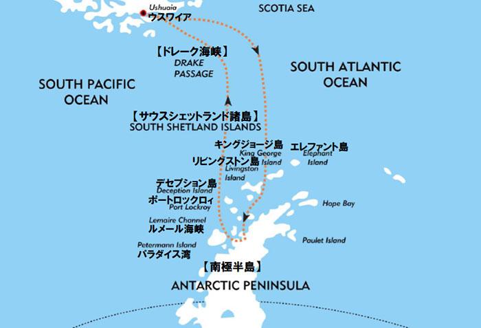 南極半島&サウスシェットランド諸島11・12日間ルート図