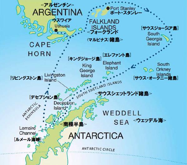 フォークランド諸島、サウスジョージア&南極半島19日間(前泊ホテルなし)ルート図