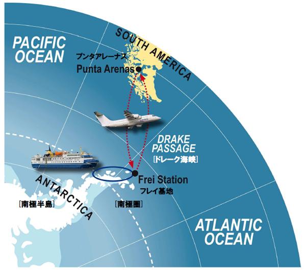 南極フライ&クルーズ(�U):南極圏横断10日間ルートマップ