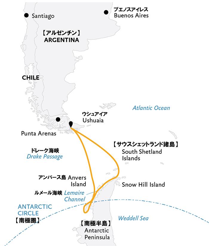 南極半島&サウスシェットランド諸島(南極圏横断)14日間クルーズマップ